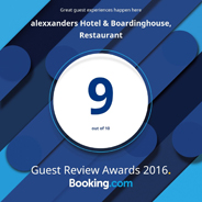booking.com Guest Review Awards 2016 - 9 out of 10